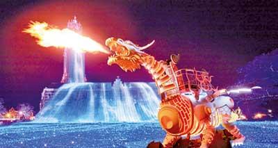 大迫力の「光のドラゴンロボット」(提供:ハウステンボス)