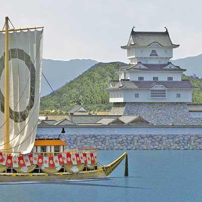 VR化で復元された高松城