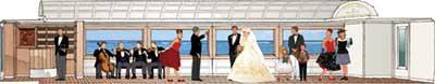 結婚式も催せる3号車イメージ(ドーンデザイン研究所)